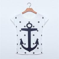 Wholesale Ladies Anchor Shirt - Wholesale- ZSIIBO Women ladies tops tees short sleeve t shirt Boat anchor t-shirt dress female O-neck 10 colors clothes vestidos NVTX07-S04