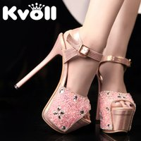 Wholesale Kvoll Shoes Sandals - Kvoll Super high heels 16cm high nightclub Princess fine with Peep-toe High Heels Sandals Explosion grain Shoes