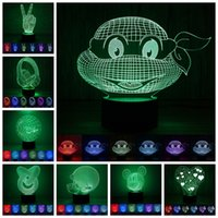 Wholesale Table Buttons - 3D ABS base Night Lights LED 7 colour chaning touch and button switch table lamp fashion Sleep night light more than 100 styles
