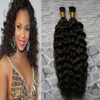 Wholesale i tip indian virgin hair - Brazilian Human Hair Extensions kinky curly Capsule Keratin I Tip Hair Fusion 100g 1g strand 100s virgin i tip extensions