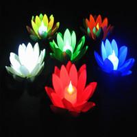 ingrosso ha portato loto artificiale-Lucido LED Lotus Candle Wishing Lamp Artificiale Galleggiante EVA Fiore con Luci Elettroniche Per Natale Compleanno Forniture per feste di nozze