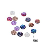 Wholesale Pink Flatback Rhinestones - Free shipping High Quality Fashion Decoration DIY Clear Resin beads Druzy Round FlatBack Faceted Non Hotfix Rhinestone fast delivery