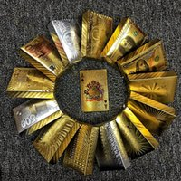 Wholesale Golden Play Cards - Euro US dollars Style Waterproof Plastic Playing Cards Gold Foil Poker Golden Poker Cards 24K Gold-Foil Plated Playing Cards Poker Table Gam