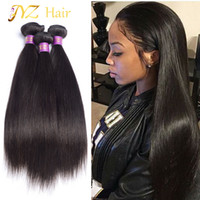 Wholesale Indian Hair Smooth - JYZ Malaysian virgin hair straight remy human hair Brazilian straight weave 3 bundles deal Soft and smooth virgin Peruvian straight hair