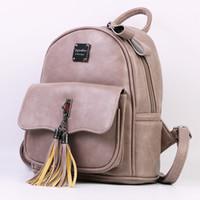 Wholesale Summer Korean Bags - 2017 Summer Fashion Solid Women Backpack Tassel Teenage Girl Bag Korean Backpacks Soft PU Leather Female Backpack 1767