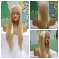 Top Quality 28inch White Blonde Ombre Sintético Lace Front Peruca Resistente ao calor Long Straight Hair For Women Peruca Feminina Longa