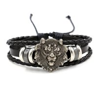 Wholesale Indian Head Charms - New Retro men's leather wristlet hand-made size adjustable punk wind lion head leather bracelets Fashion Jewelry