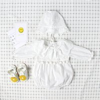 Wholesale Little Girl Boutique Wholesale - Boutique Ins baby girl clothes Birthday Party embroidered Lace Romper Jumpsuits with Ruffle Lace neck Little Balls dec cotton 2017 0-2T