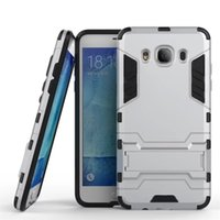 Wholesale galaxy hard phone cases - Armor Case For Samsung Galaxy J7 2016 Heavy Duty Hybrid Hard Rugged Plastic Rubber Kickstand Phone Cover Case Coque For Free Shipping