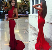 Wholesale Long Chiffon Cutout Prom Dress - Free Shipping Evening Dresses Mermaid White Red High Neck Cutout Long Red Chiffon Formal Prom Gowns