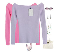 Wholesale Wholesale Women Cashmere Sweaters - Wholesale-New 2016 Cashmere Sweater Women Female Knitted Sweaters Long Sleeve Pullovers Women Slash Neck Sweater 22colors High Quality 713