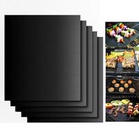 churrasco preto venda por atacado-Churrasco Grelhar Liner CHURRASCO Cobre Grill Mat Portátil Não-stick e Reutilizável 33 * 40 CM 0.2 MM Forno de Cobre Preto Hotplate Esteiras IB039