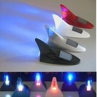 Wholesale Dome Antenna - Solar 8 LED Tail Light Shark Fin Antenna Car Motorcycle Warning Flash Lights 7 Color Free Shipping