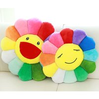 Wholesale Car Seat Cushions Plush - Wholesale-Kawaii Smiling Sunflower Pillow Stuffed Plush Cushion Soft Warm Gift for Children Kids Friends Pets Home Decor Car Seat