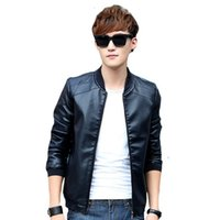 Wholesale Cheap Motorcycle Stands - autumn Winter men bomber jackets brown zipper Faux Leather male casual Motorcycle jacket cool Cheap plus size 4XL coat