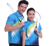 Wholesale Table Tennis Shirts Women - New Sportswear sweat Quick Dry breathable badminton shirt , Women   Men table tennis clothes team game blue POLO T Shirts