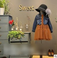 Wholesale Lapel Splicing Dresses - Girls princess outfits fashion Kids Boat-Neck tulle TUTU splicing dress+denim lapel outercoat 2pcs sets Autumn new sweet girls clothes G1035