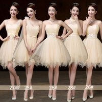 Wholesale D Party Dresses - Champagne Color have 4 patterns Women wedding clothing Sexy slim Sweety Special Occasion party gown sisters Bridesmaid dress