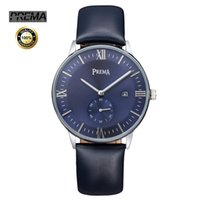 PREMA Fashion Simple Top marque de luxe Montres homme Bracelet en cuir homme Japon Quartz-montre mince Dial Horloge Date Calendrier Analog Watch Men's