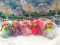 Wholesale Girls Dresses Wholesale China - 12cm mini barbie doll beatiful fashion cloth dress doll for school bag pendants baby girl toy doll