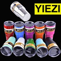 Wholesale Double Wall Beer - colorful YIEZI 20 oz 30oz 10 12oz Cups Cooler Tumbler Travel Vehicle Beer Mug Double Wall Bilayer Vacuum Insulated OTH242