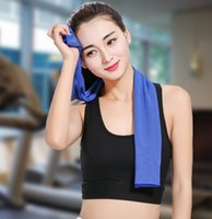 Wholesale towel material resale online - Summer Polyester Cool Cooling Towel Camping Hiking Exercise Workout Cold Ice Material Towel Sports Dry Sweat Washcloth Scaft Yoga