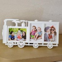 Wholesale Small Children Picture - Creative Small Locomotive Shape Children Photo Frame Home Decor 6 Inch White Picture Frame Combination Wedding Frame Wall