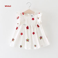 Wholesale Korean Girls Mini Dress - Korean Version Fashion Baby Girl Clothing Kids Casual White Cotton Dress Floral Ptint Infant Children Mini Dress