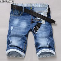Wholesale jeans style for short men - Wholesale- AIRGRACIAS Classic Brand Mens Jeans Shorts Plus Size 28-40 Stretch Thin Denim Jeans Short for Men Pants Summer Style Jean