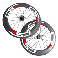 Wholesale Bicycle Speed Gear - New 700C 88mm Clincher   fixed gear flip flop Wheels Tubular carbon track bike Front Rear wheels single speed bicycle wheelset