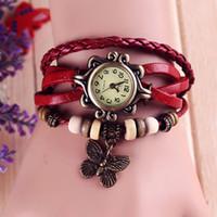 pulseira de pingente de borboleta relógios venda por atacado-Livre DHL couro genuíno mão tricô relógios do vintage pulseira relógios de pulso borboleta pingente frete grátis couro de vaca