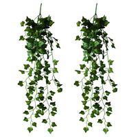 yapay asılı sarmaşık toptan satış-2 Parça Yapay Asılı Ivy Vine Yapraklar Garland Sahte Yeşillik Çiçekler Ev Garland Dekor