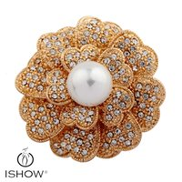 Wholesale Large Pearl Flower Brooch - 1.6 Inch Vintage Style Rhodium Gold Tone Large Size Flower Rhinestone Diamante Crystal Brooch for Women