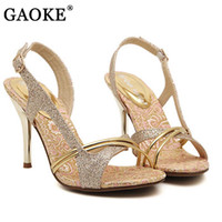 chaussures peep achat en gros de-2017 Chaussures de mode Femme Chaussures Talons hauts Sandales Femmes Gladiator Peep Open Toe Sandalias Huile Out Glitter PU Zapatos Mujer