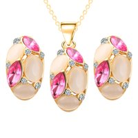 Wholesale Olive Oval - The New Oval Alloy Opal Necklaces Earrings Jewelry Set Blue Green Red 10pcs Size 24*14mm 41*11mm Weight 23g
