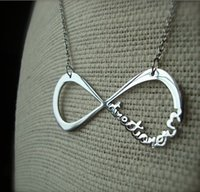 Wholesale One Direction Infinity Directioner Necklace - Fashion black silver gold infinity one direction 1D directioner necklace