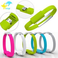pulseiras de pulso usb venda por atacado-22 cm 5 cores portátil usb carregador cabo pulseira de pulso banda de sincronização de dados cabo para android cabos de carregamento
