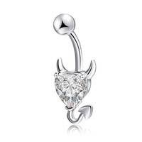 Wholesale Piercing Navel Love - Wholesale Sexy Love Heart Belly Button Rings Belly Piercing Zircon Crystal Body Jewelry Navel Piercing Rings Women Medical stainless steel