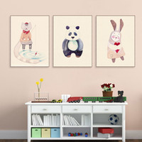 niños marcos de fotos de animales al por mayor-Acuarela Kawaii Animal Panda Cat Rabbit Poster Nordic Baby Kids Room Arte de la pared Home Deco Canvas Painting Print Picture Sin Marco