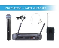 Wholesale Wireless Headset Microphone System Uhf - Wholesale- UHF PRO WIRELESS DUAL MICROPHONE SYSTEM PGX24 BETA58 58A+ LAPEL + HEADSET MIC + CASE for STAGE