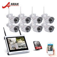 Wholesale outdoor nvr - ANRAN 8CH Wireless Surveillance System 12 Inch LCD NVR Kit P2P 720P HD IR WIFI IP Camera Outdoor Security Camera System 2TB HDD