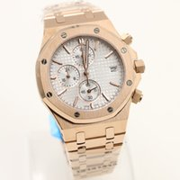 Wholesale Gold Coated Roses - Luxury watch men AAUDEMARS PPIGUET Royal Oak Quartz Rose Gold STAINLESS STEEL PVD Coating white DIAL REF Chronograph stopwatch Men Watches