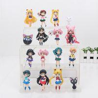 seemann jupiter puppe großhandel-16 Teile / los Anime Sailor Moon Figuren Tsukino Usagi Sailor Mars Merkur Jupiter Venus Saturn Figur Spielzeug PVC Modell Puppen 6-8 cm