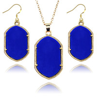 Wholesale Solid White Gold Jewelry Sets - Luxury Brand Acrylic solid colors pendant Necklaces Dangles Earrings Sets Gold Plated Jewelry Set For women Fashion Accessories