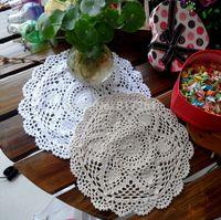 Wholesale Zakka 12 - Wholesale- zakka 2015 fashion 25cm Round 12 pics lot cotton crochet lace doilies for table decor placemat coaster felt potholder dinner mat