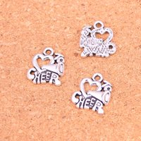 Wholesale Cheer Necklaces - 67pcs Antique silver Charms I love to cheer Pendant Fit Bracelets Necklace DIY Metal Jewelry Making 17*16mm