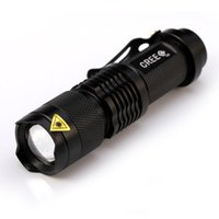 Wholesale 7w Cree Led Flashlights Rechargeable - LED torches laser flashlight LED Flash Light 7W 300LM CREE Q5 LED Camping Flashlight Torch Adjustable Focus Zoom waterproof flashlights Lam