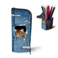 Wholesale Dogs Cosmetic - Wholesale- Kawaii 3D Animals Cute Cat Dog School Pencil Bag Case Women Cosmetic Pouch Stationery Student Children Gift Lady School Supplies