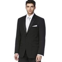 tuxedo anzug schwarz farbe großhandel-Neueste stil der bräutigam anzüge smoking mode schwarz herren formale gelegenheit anzüge reine farbe zwei taste männer hochzeit anzüge (jacke + pants)