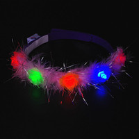 Colorido LED piscando Flower Headband Light-Up Floral Garland Wreath Kids Adultos Headwear Glow Party Supplies ZA4548